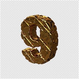 De gouden ongepolijste cijfers draaiden naar links. 3d-nummer 9