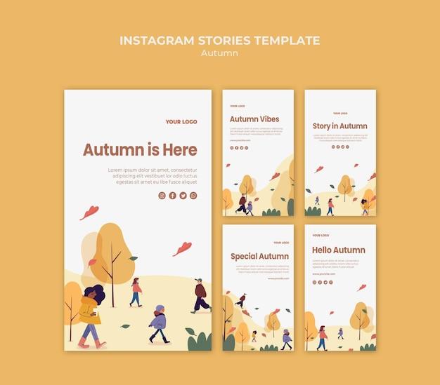De herfst is hier sjabloon voor instagramverhalen Gratis Psd