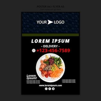 De humeurige affiche van het voedselrestaurant met plaat