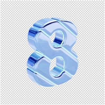 De ijsblauwe cijfers zijn naar rechts gedraaid. 3d-nummer 8
