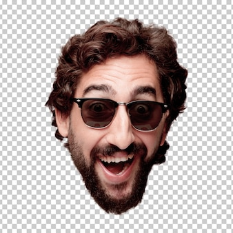 De jonge gekke gebaarde geïsoleerde hoofduitdrukking van het mensen knipsel. hipsterrol met zonnebril. gelukkig poseren
