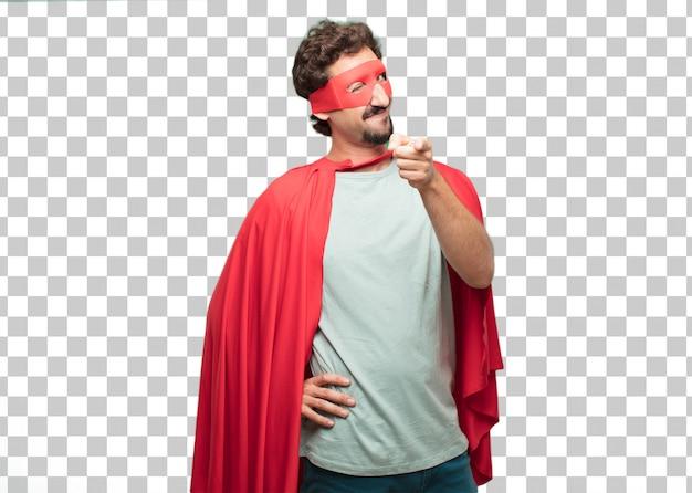 De jonge gekke super heldenmens knipoogt oogconcept