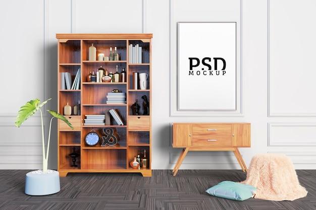 De kamer heeft decoratieve planken en frames