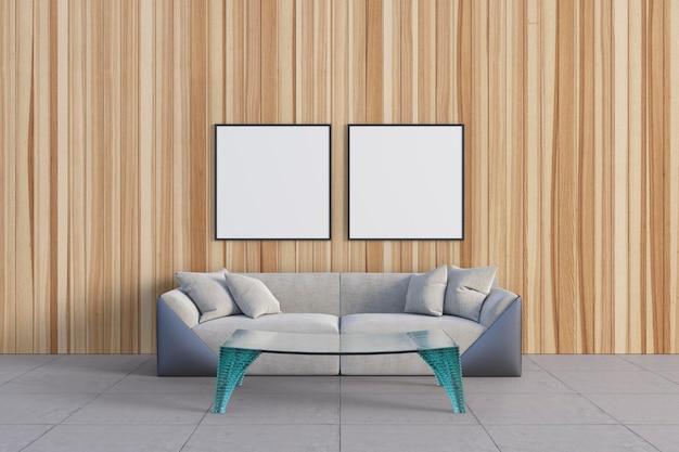 De kamer met prachtige houten muur en mockupframes