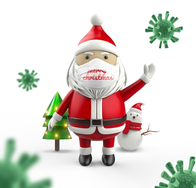 De kerstman draagt een medisch gezichtsmaskermodel