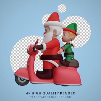 De kerstman en de dwergen rijden op scooters om cadeaus klaar te maken voor kerstmis en nieuwjaar