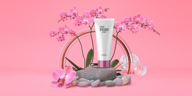 De kosmetische malplaatje roze studio met van het rotspodium en orchidee 3d bloemenpastelkleur geeft terug
