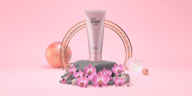 De kosmetische malplaatje roze studio met van het rotsstadium en orchidee 3d bloemenpastelkleur geeft terug