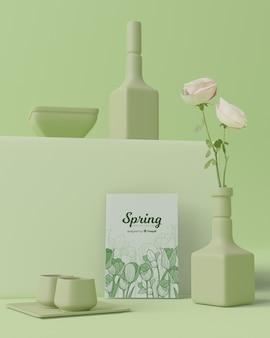 De lentetijd met decoratie in 3d ontwerp