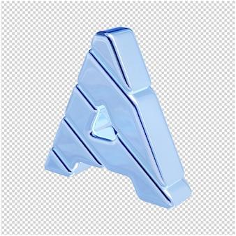 De letters zijn gemaakt van blauw ijs, naar links gedraaid. 3d-letter a