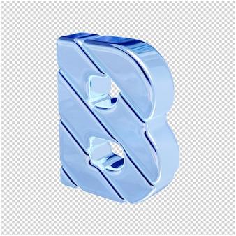 De letters zijn gemaakt van blauw ijs, naar links gedraaid. 3d-letter b