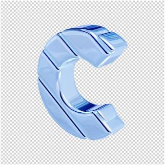 De letters zijn gemaakt van blauw ijs, naar links gedraaid. 3d-letter c