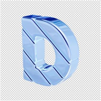 De letters zijn gemaakt van blauw ijs, naar links gedraaid. 3d-letter d