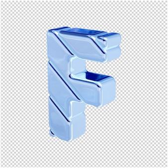 De letters zijn gemaakt van blauw ijs, naar links gedraaid. 3d-letter f