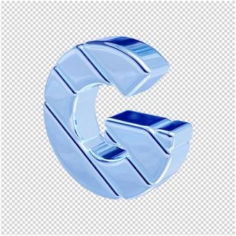 De letters zijn gemaakt van blauw ijs, naar links gedraaid. 3d-letter g
