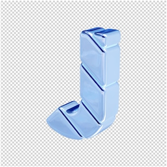 De letters zijn gemaakt van blauw ijs, naar links gedraaid. 3d-letter j