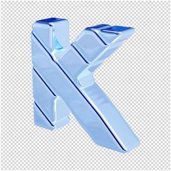 De letters zijn gemaakt van blauw ijs, naar links gedraaid. 3d-letter k