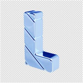 De letters zijn gemaakt van blauw ijs, naar links gedraaid. 3d-letter l