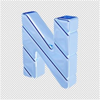 De letters zijn gemaakt van blauw ijs, naar links gedraaid. 3d-letter nr