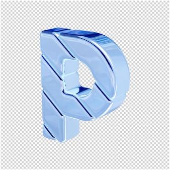 De letters zijn gemaakt van blauw ijs, naar links gedraaid. 3d-letter p