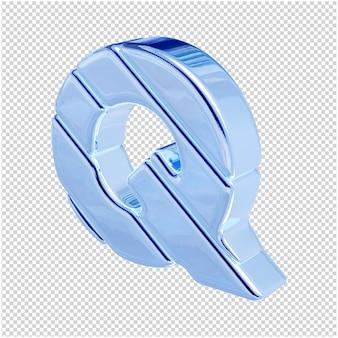 De letters zijn gemaakt van blauw ijs, naar links gedraaid. 3d-letter q
