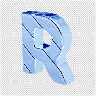 De letters zijn gemaakt van blauw ijs, naar links gedraaid. 3d-letter r