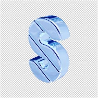 De letters zijn gemaakt van blauw ijs, naar links gedraaid. 3d-letter s