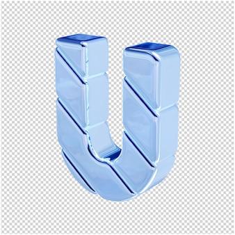 De letters zijn gemaakt van blauw ijs, naar links gedraaid. 3d letter u