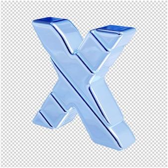 De letters zijn gemaakt van blauw ijs, naar links gedraaid. 3d-letter x