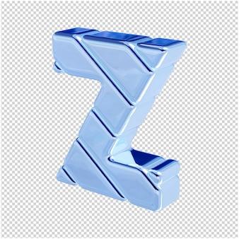 De letters zijn gemaakt van blauw ijs, naar links gedraaid. 3d-letter z