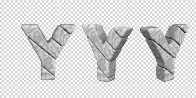 De letters zijn gemaakt van marmer in verschillende hoeken op een transparante achtergrond. 3d-letter ja