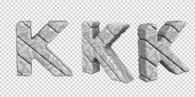 De letters zijn gemaakt van marmer in verschillende hoeken op een transparante achtergrond. 3d-letter k