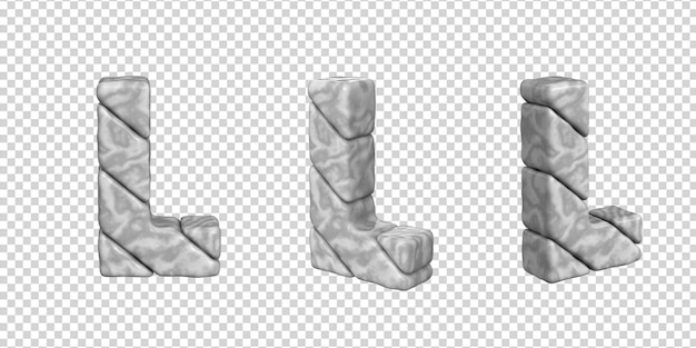 De letters zijn gemaakt van marmer in verschillende hoeken op een transparante achtergrond. 3d-letter l