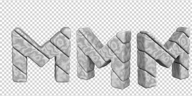 De letters zijn gemaakt van marmer in verschillende hoeken op een transparante achtergrond. 3d-letter m