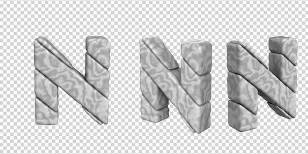 De letters zijn gemaakt van marmer in verschillende hoeken op een transparante achtergrond. 3d-letter nr