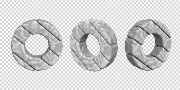 De letters zijn gemaakt van marmer in verschillende hoeken op een transparante achtergrond. 3d letter o