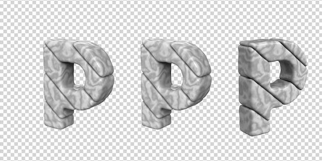 De letters zijn gemaakt van marmer in verschillende hoeken op een transparante achtergrond. 3d-letter p