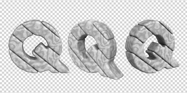 De letters zijn gemaakt van marmer in verschillende hoeken op een transparante achtergrond. 3d-letter q