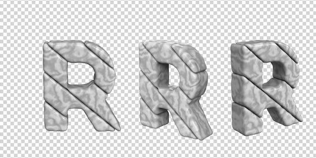 De letters zijn gemaakt van marmer in verschillende hoeken op een transparante achtergrond. 3d-letter r