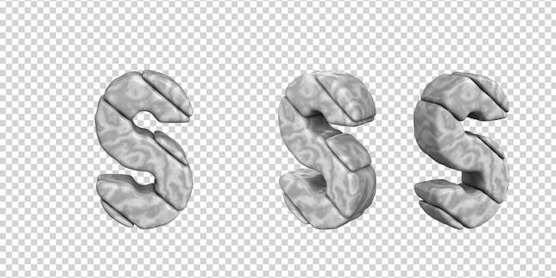 De letters zijn gemaakt van marmer in verschillende hoeken op een transparante achtergrond. 3d-letter s