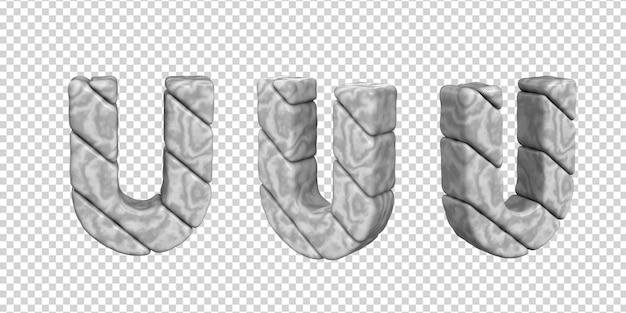 De letters zijn gemaakt van marmer in verschillende hoeken op een transparante achtergrond. 3d letter u
