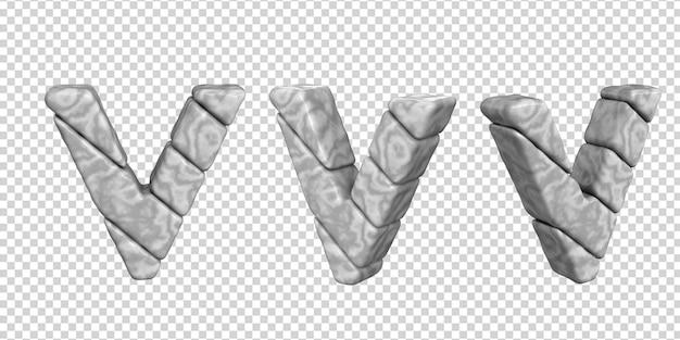 De letters zijn gemaakt van marmer in verschillende hoeken op een transparante achtergrond. 3d-letter v