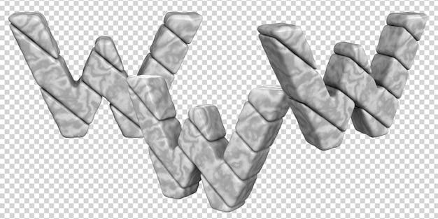 De letters zijn gemaakt van marmer in verschillende hoeken op een transparante achtergrond. 3d-letter w