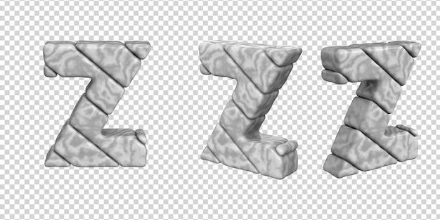 De letters zijn gemaakt van marmer in verschillende hoeken op een transparante achtergrond. 3d-letter z
