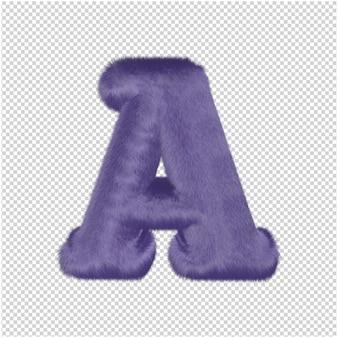 De letters zijn gemaakt van paars bont. 3d hoofdletter a