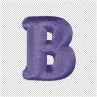 De letters zijn gemaakt van paars bont. 3d-hoofdletter b