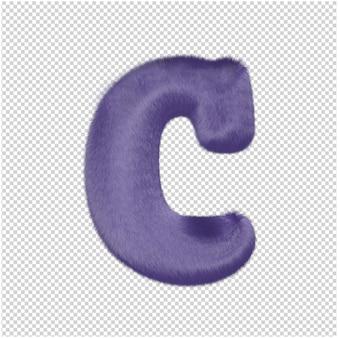 De letters zijn gemaakt van paars bont. 3d-hoofdletter c