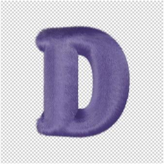 De letters zijn gemaakt van paars bont. 3d-hoofdletter d