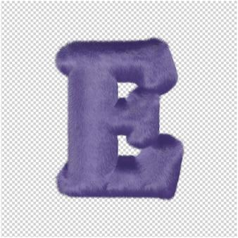 De letters zijn gemaakt van paars bont. 3d hoofdletter e