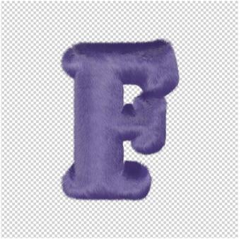 De letters zijn gemaakt van paars bont. 3d-hoofdletter f